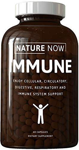 Nature Now: Immune - Immune System Support - 60 Capsules - Support Cellular, Circulatory, Digestive, Respiratory, Immune Function - Fight Off Infection - Replenish Nutrition - All Natural