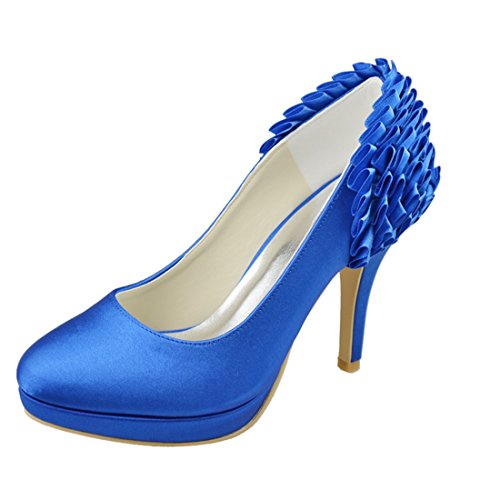 Minishion Wedding Womens High 10cm Evening Satin Ruched Party Bridal Blue Heel Heel Stiletto Shoes Pumps qUgrwZq