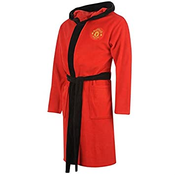 Official Manchester Man United Utd FC Hooded Dressing Gown Bath Robe ...