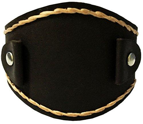 D'SHARK 2'' Wide Handmade Brown Punk Rock Biker Leather Cuff Wrist Watch Band - Unisex by D'SHARK