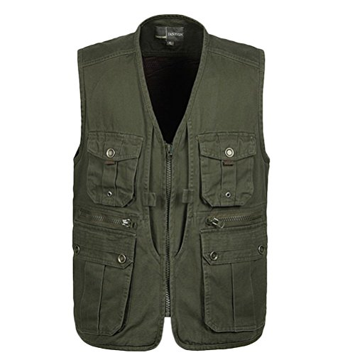 aire Multi Chaleco Outdoor Zipper al Verde Mens Zhuhaitf Hiking Gilet Coat Working Pocket Breathable Bodywarmer hombre para Fishing libre Vest Jacket xIdnnq87