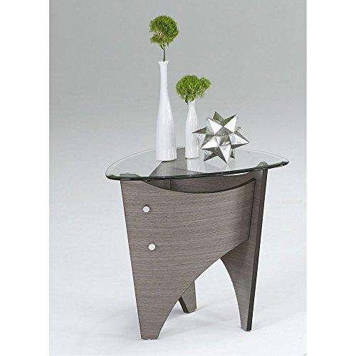 (Progressive Furniture Round End Table in Gray Walnut Finish )