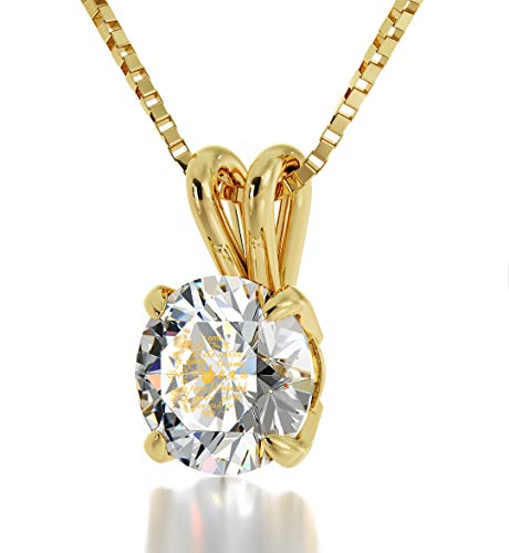 14k Yellow Gold I Love You Necklace for Women in 12 Languages Inscribed in 24k Gold Including Sign Language onto a Round Clear Crystal Solitaire Anniversary Pendant, 18