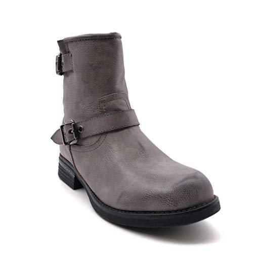 Talon Bottines Gris String Pour Cm Boucle Biker Chaussures Angkorly Mode 3 Femmes qZ4B8w