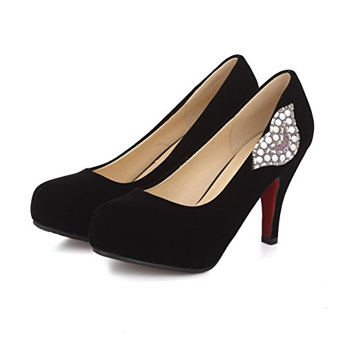VogueZone009 Women's High-Heels Solid Pull-On Frosted Round Closed Toe Pumps-Shoes Black dlfcRQc3d