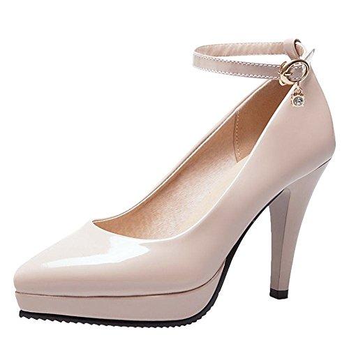YE Damen Ankle Strap Pumps Stiletto Lack High Heels Plateau mit Schnallen Elegant Schuhe Aprikose