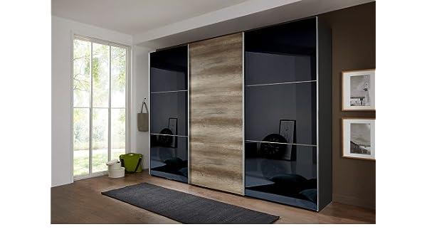 Armario de puertas correderas lava/gris, 2 parte frontal Negro, 1 frontal de roble salvaje-NB, 3 E-estantes y 3 barras, tamaño: B/H/T aprox 313/236/65 cm: Amazon.es: Hogar