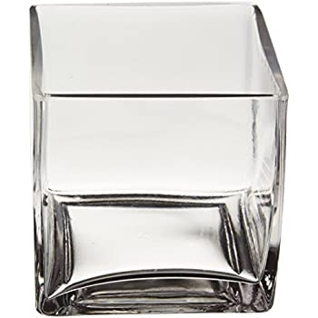 Amazon Com Wgv Clear Square Cube Glass Vase Votive Candle Holder 4 Inch Home Amp Kitchen