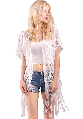 Womens Fashion Lace Crochet Open Front Cardigan Cover Up Tops With Tassels