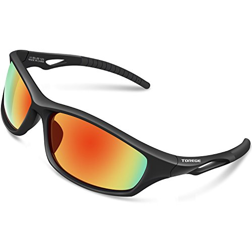 56dbb5725c TOREGE Polarized Sports Sunglasses For Men Women For Cycling Running  Fishing Golf TR90 Unbreakable Frame TR010