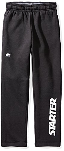 - Starter Boys' Open-Bottom Logo Sweatpants with Pockets, Amazon Exclusive, Black with White Logo, M (8/10)