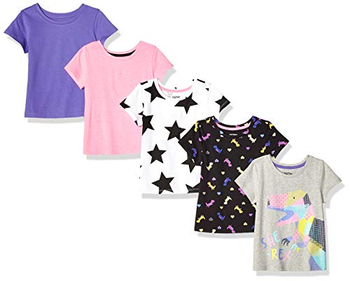 Spotted Zebra Toddler Girls' 5-Pack Short-Sleeve T-Shirts, She- She-Rex, 3T