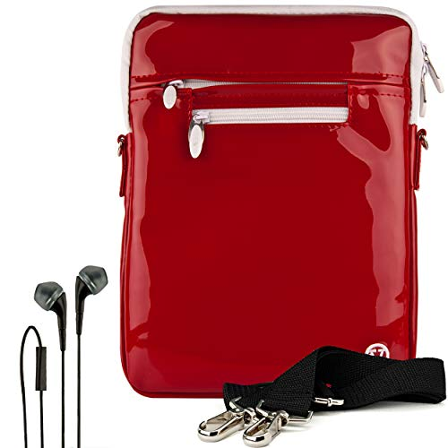 VanGoddy Slim Patent Red Cross Body Tablet Carrying Case Bag + Black in-Ear Headphones for Barnes and Noble Nook Tablet Carrying Case 10.1""