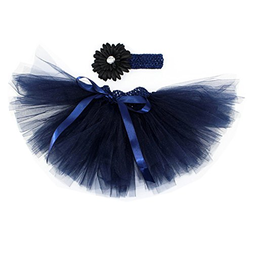 MizHome Newborn Baby Girls Birthday Layered Tulle Tutu Skirt Flower Daisy Headwear Outfits Navy Blue]()
