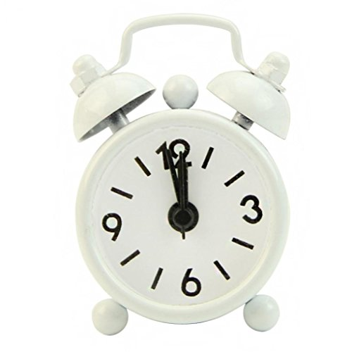 - SoundsBeauty Classic Home Cute Battery Operated Analog Mini Round Bedside Desk Alarm Clock - White