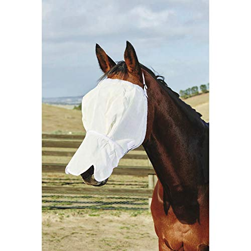 Roma Fly Mask With Fleece & Nose (Full) (White) ()