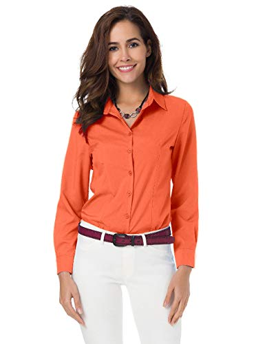 Ladies L/s Stretch Shirt - Atnlewhi Womens Basic Long Sleeve Button Down Shirts Simple Pullover Stretch Formal Casual Shirt Orange