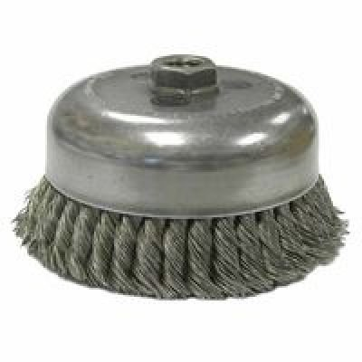"Weiler 804-12576 12576 Double Row Heavy-Duty Standard Twist Knot Wire Cup Brush, 5/8-11 UNC, 0.035"" Steel, 6600 rpm, 6"""