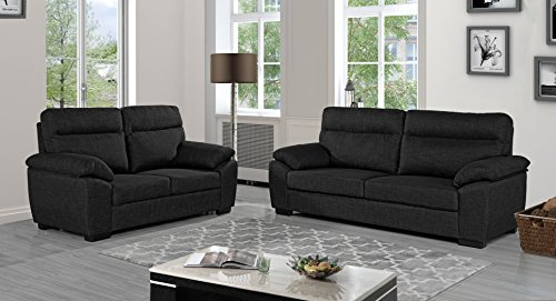 Sofa Set in Fabric 2 Pieces, Linen Couch and Loveseat for Living Room Set of 2 (Dark Grey) (Sets Sale For Furniture Living Cheap Room)