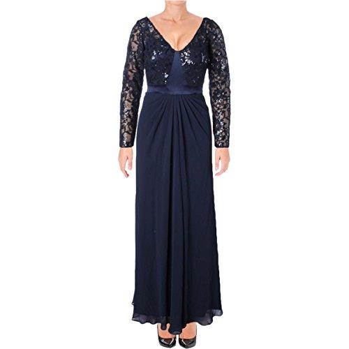 Lauren Ralph Lauren Womens Chiffon Sequined Evening Dress Navy 2