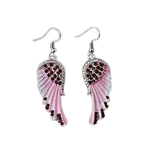 Sunyastor Hot Sale Womens Classic Angel Wings Diamond Design Twist Wave Hoop Earrings for Girls (Red, One Size) ()