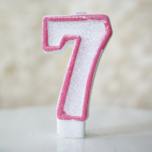 """Number """"7"""" Numerals Birthday Party Cake Candle - Glitter Pink & White"""