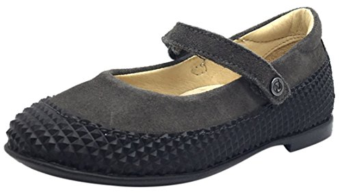 Naturino Girl's Black & Grey Single Strap Mary Jane Flat with Suede Trim 30 M EU/13 M US Little Kid (Single Jane Strap Mary)