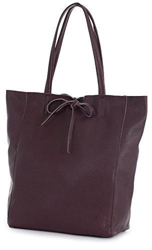 Handbag Burgundy Shopper Large LIATALIA ASTRID Italian Shoulder Hobo Leather Genuine Tote Leightweight Soft wx47OFqv