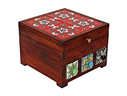 Decorative Hand Crafted Storage Box Jewellery Organizer with Floral Patterned Designs