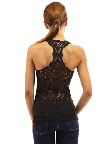 PattyBoutik Women's Crochet Lace Racerback Tank Top (Black - Racerback Cami Lace