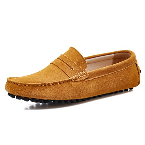2016-2qianzong9.5 SUNROLAN Men's Suede Leather Driving Moccasins Shoes Penny Driver Slip On Loafers Light Brown US (Light Brown Suede Footwear)