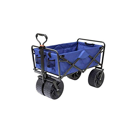 Cheap Mac Sports Heavy Duty Collapsible Folding All Terrain Utility Beach Wagon Cart, Blue/Black wagon with big wheels