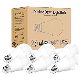 Torkase Outdoor Dusk to Dawn Light Bulbs, 12W(100W Equivalent), E26 3000K, Built-in Photocell Detector, Automatic On/Off, Smart Sensor LED Lighting Bulb for Porch Hallway Garage Boundary-6 Pack