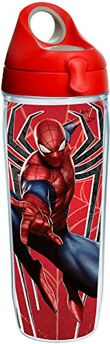 (Tervis 1224645 Marvel - Spider-Man Red Spider Tumbler with Wrap and Red with Gray Lid 24oz Water Bottle, Clear)