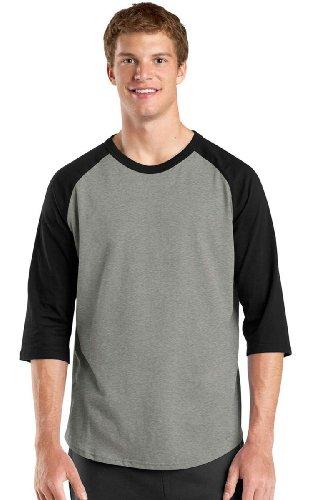 Sport-Tek Men's Colorblock Raglan Jersey XS Heather Grey/Black
