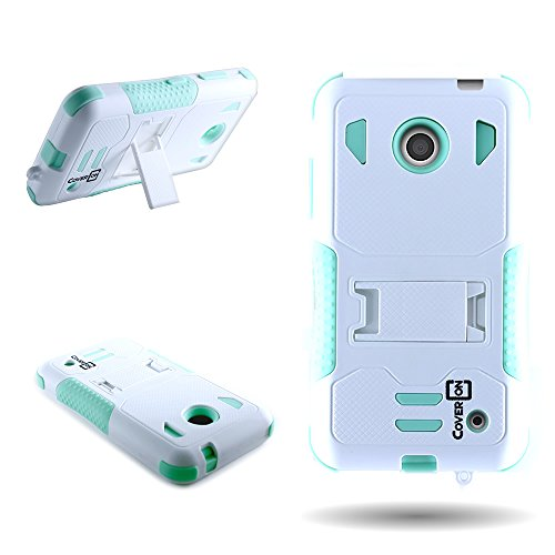 CoverON For Nokia Lumia 635 Dual Layered Protective Rugged Hybrid Case With Kickstand - White Hard and Teal Soft - Girls Nokia 635 Phone For Cases