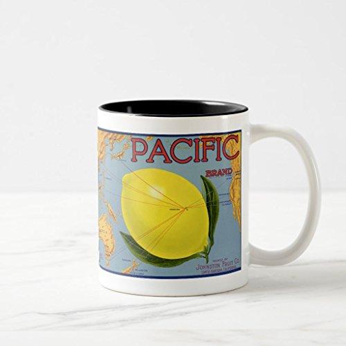 Lemon Fruit Crate Label - Zazzle Vintage Fruit Crate Label Art Pacific Lemon Citrus Mug, Black Two-Tone Mug 11 oz
