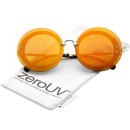 zeroUV - Bold Oversize Rimless Round Circle Color Mirrored Flat Lens Sunglasses 65mm (Gold / Magenta Orange - Sunglasses Farrow Linda