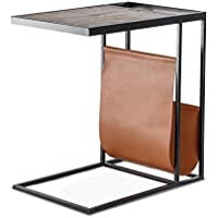 Avignon Sofa End Table Coffee Side Table Accent Table in Iron Frame and Mango Wood Top with Magazine Holder in Real Leather