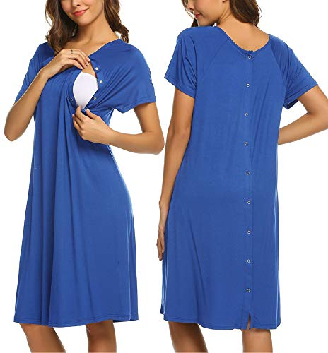(Ekouaer Nursing Nightgown Nightdress Hospital Gown Delivery/Labor/Maternity/Pregnancy Soft Breastfeeding Dress(Snorkel Blue,L))