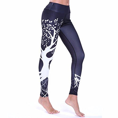 Fittoo Hot Sale Yoga Pants Sport Pants Workout Leggings Sexy High Waist Trousers - Black Tree (S) (Yoga Hot Chart)