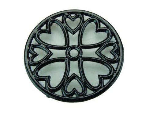 Apollo Housewares 9251 Cast Iron Trivet Mini Rnd Black