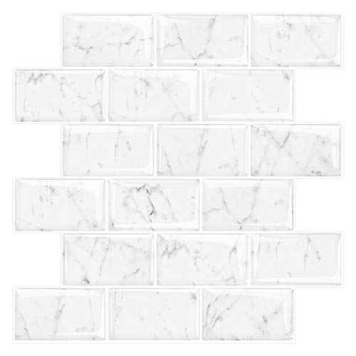 Marble Look Peel and Stick Subway Tile, Stick on Wall Tiles, Self-Adhesive Kitchen backsplash (Pack of 10, Thicker Design)