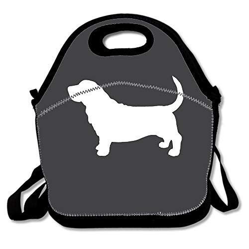 Basset Hound Silhouette(s) Outdoor Reusable Neoprene Lunch Bag,Cute Lunch Tote Bag Multi-function Lunch Box Organizer For Adults And Kids