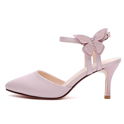Feifei Muoti Pu Valinnainen Vaaleanpunainen materiaalista korkea Naisten Yksi Terävällä 7cm Kengät Hieno Valkoinen Puhdas Väri Sandaalit 0dwqA0
