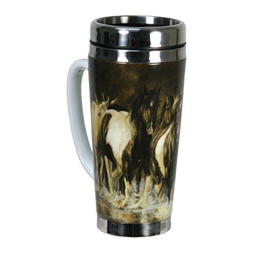 River's Edge 16-Ounce Stainless Steel and Ceramic Travel Mug with Handle (Horses Design)