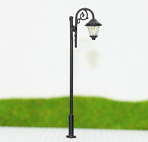 Evemodel LYM37 10pcs Model Iron horse Train Lamp Post Street Lights HO OO Scale LEDs NEW