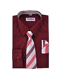 Boy's Dress Shirt, Necktie, and Hanky Set - Burgundy, Size 14