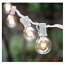 25Ft G40 Globe String Lights with Clear Bulbs, UL listed Backyard Patio Lights, Hanging Indoor/Outdoor String Light for Bistro Pergola Deckyard Tents Market Cafe Gazebo Porch Letters Party Decor, White Wire
