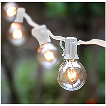 Globe String Lights Indoor : Amazon.com: 50 Foot G40 Globe Patio String Lights with Clear Bulbs for Outdoor String Lighting ...